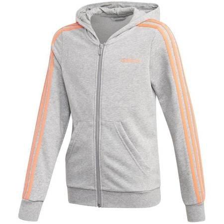 Bluza dla dzieci adidas YG E 3S FZ HD szaro-pomarańczowa FM6988
