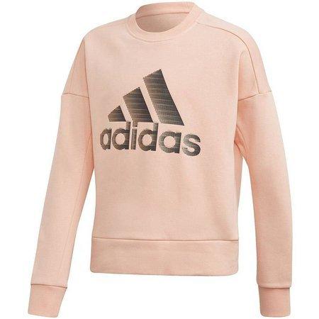 Bluza dla dzieci adidas YG ID HLD Crew brzoskwiniowa ED4653